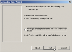 Add Scheduled Task Wizard Finished